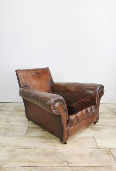 LOW DEEP FRENCH LEATHER ARMCHAIR