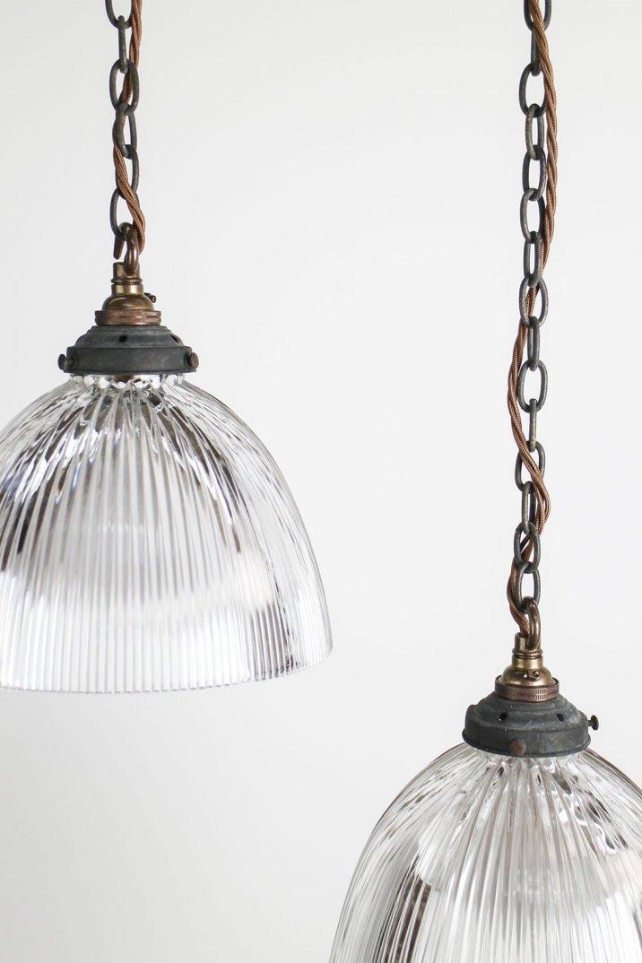 Industrial Holophane pendant lighting