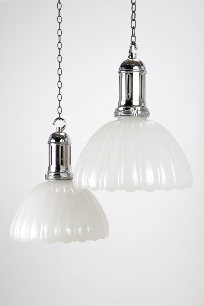 Large Antique Jefferson Moonstone Pendant Lights - Cooling & Cooling