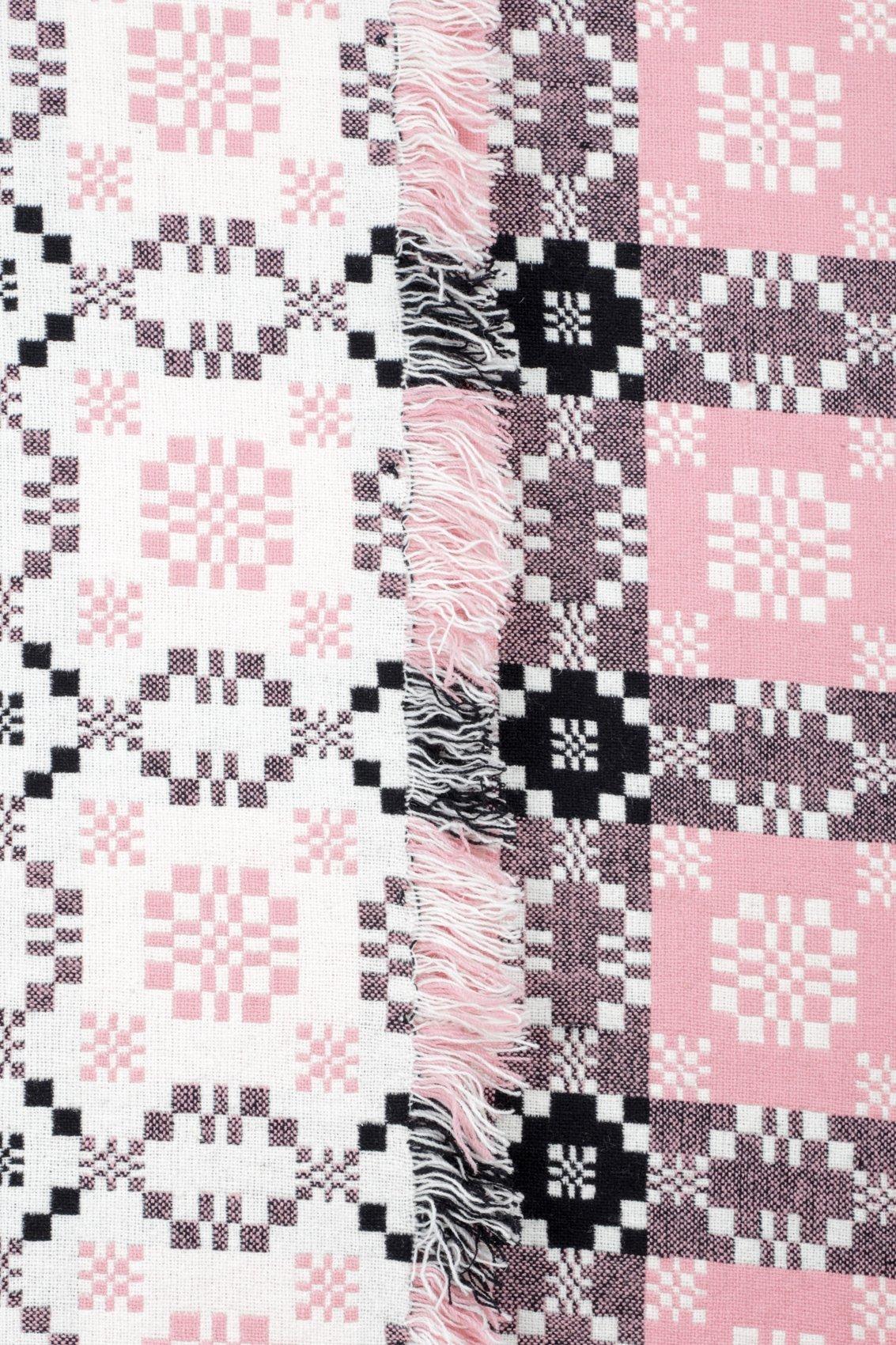 Vintage Welsh Tapestry Blanket Pink Black Cream
