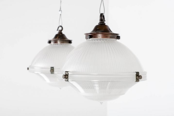 Antique Three Part Holophane Pendant Lights - Cooling & Cooling