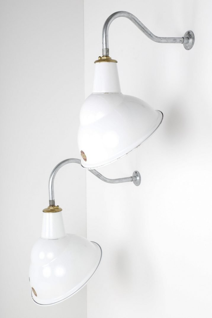 Industrial White Enamel Wall Lights By Benjamin - Cooling & Cooling