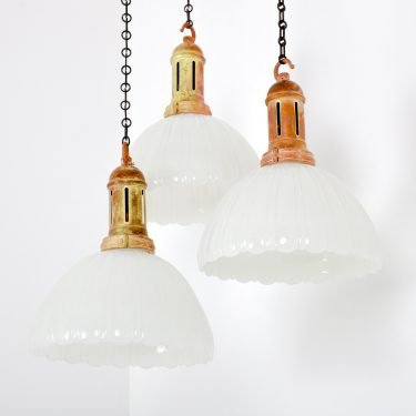 Antique Jefferson Moonstone Pendant Lights - Cooling & Cooling