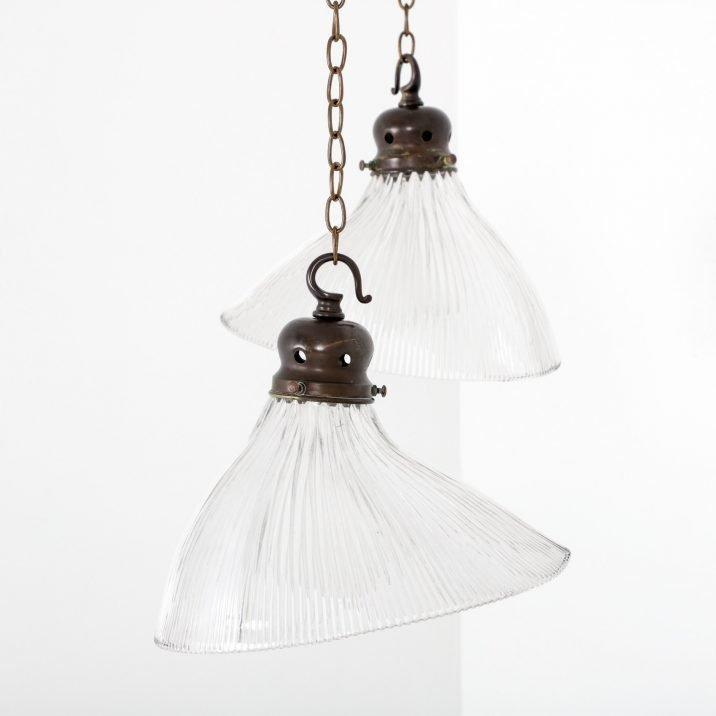 Antique Angled Holophane Pendant Lights - Cooling & Cooling