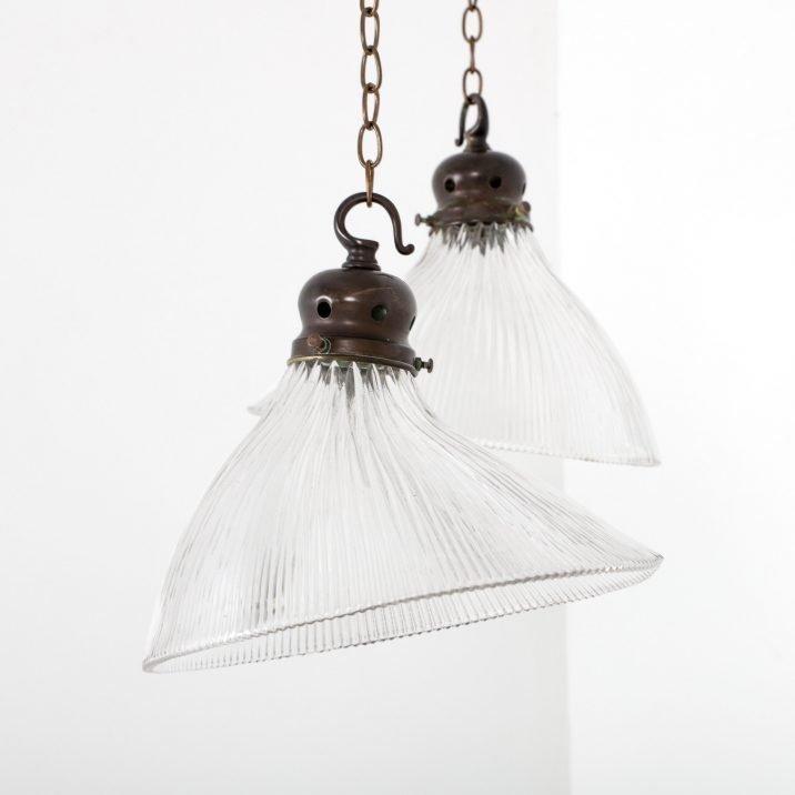 Antique Angled Holophane Pendant Light