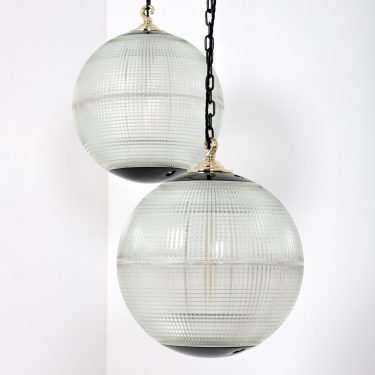 French Medium 40cm Holophane Globe Pendant Lights - Cooling & Cooling