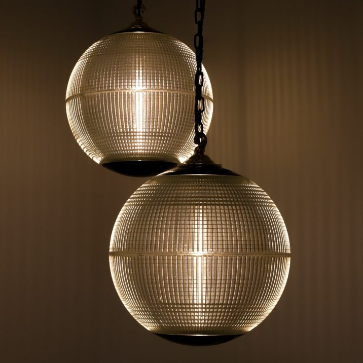 French Medium 40cm Holophane Globe Pendant Lights - Cooling & Cooling