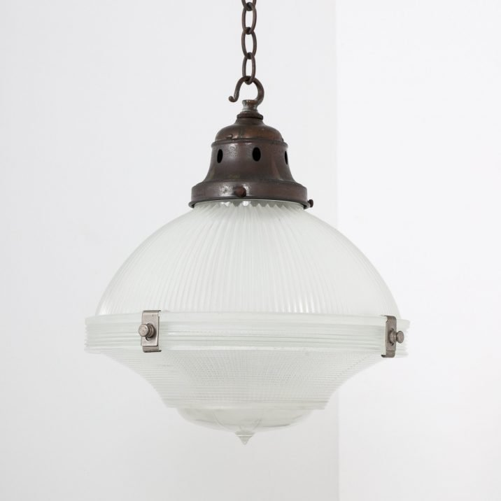 Antique Large Three Part Holophane Pendant Light - Cooling & Cooling