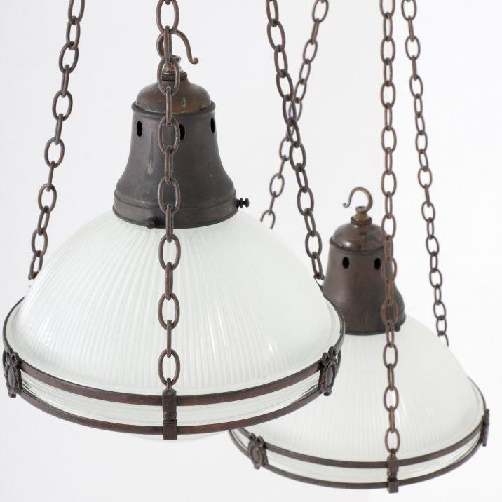 Large Antique Holophane Chandelier Pendant Light - Cooling & Cooling