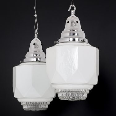 Diffused Art Deco Opaline Pendant Light - Cooling & Cooling