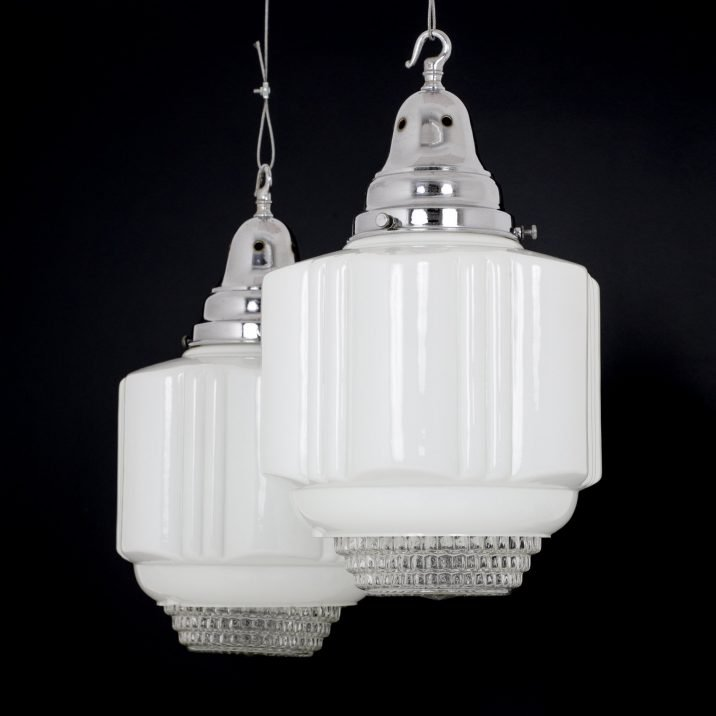 Large Diffused Art Deco Opaline Pendant Light - Cooling & Cooling