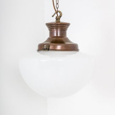 "Large 14"" Antique Opaline Pendant Light - Cooling & Cooling"