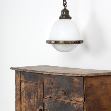 DIMINUTIVE FRENCH OPALINE PENDANT LIGHT - COOLING & COOLING