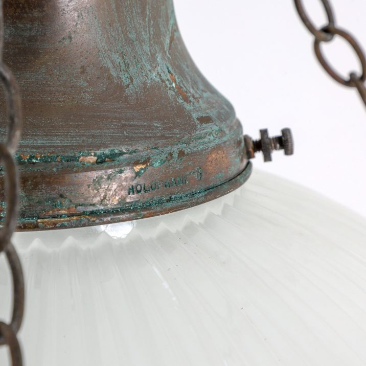 LARGE ANTIQUE CAGED HOLOPHANE CHANDELIER LIGHT - COOLING & COOLING
