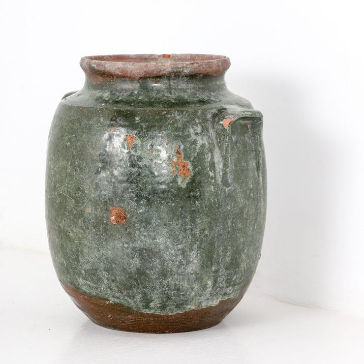 SMALL ANTIQUE GLAZED EARTHENWARE POT - COOLING & COOLING