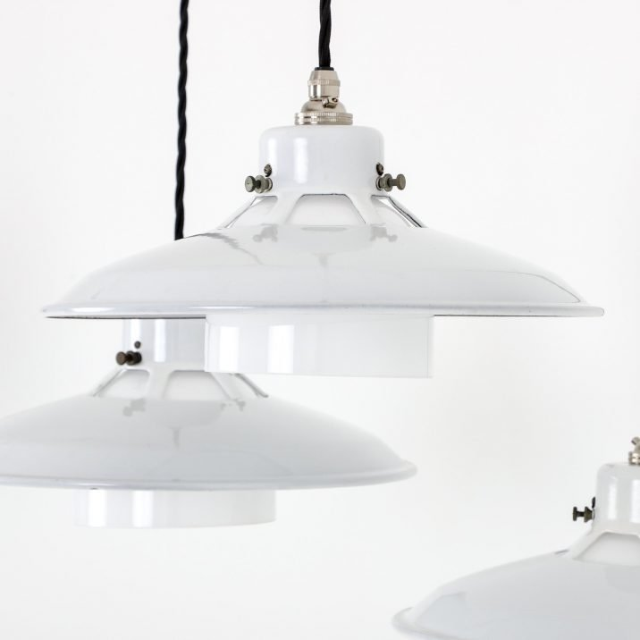 Industrial White Diffused Benflux Pendant Light - Cooling & Cooling