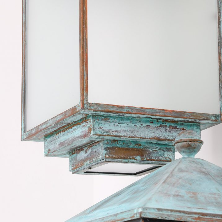 PAIR OF LARGE COPPER VERDIGRIS WALL LANTERNS - COOLING & COOLING