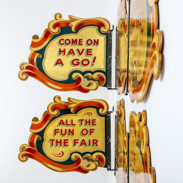 VINTAGE DOUBLE SIDED PAINTED FAIRGROUND SIGNS - COOLING & COOLING