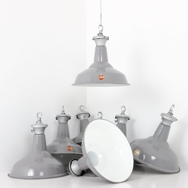"Industrial 15"" Grey Pendant Lights By Benjamin - Cooling & Cooling"