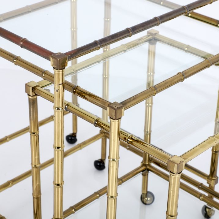 Vintage Brass Faux Bamboo Nest Of Tables - Cooling & Cooling