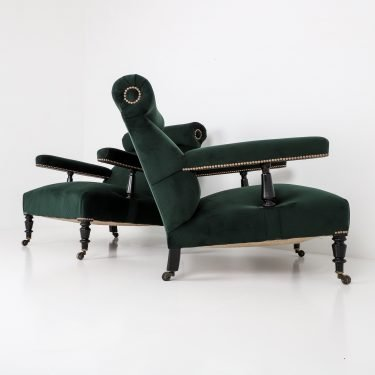 Large Pair Antique Open Armchair