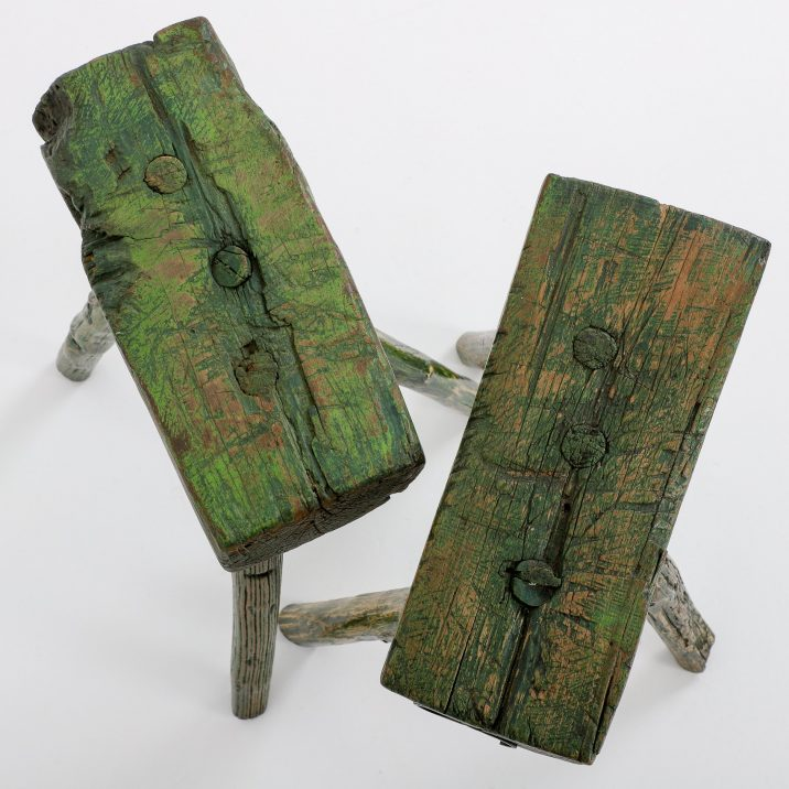 Pair Antique Milking Stools - Cooling & Cooling