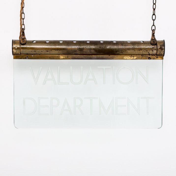 ANTIQUE 'VALUATION DEPARTMENT' ILLUMINATED SIGN - COOLING & COOLING