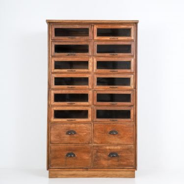 ANTIQUE OAK HABERDASHERY CABINET - COOLING & COOLING
