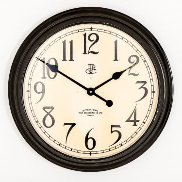 "LARGE 22"" INTERNATIONAL TIME RECORDINGS WALL CLOCK"