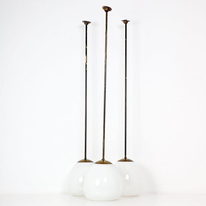 Trio Antique Tulip Opaline Pendant Lights - Cooling & Cooling