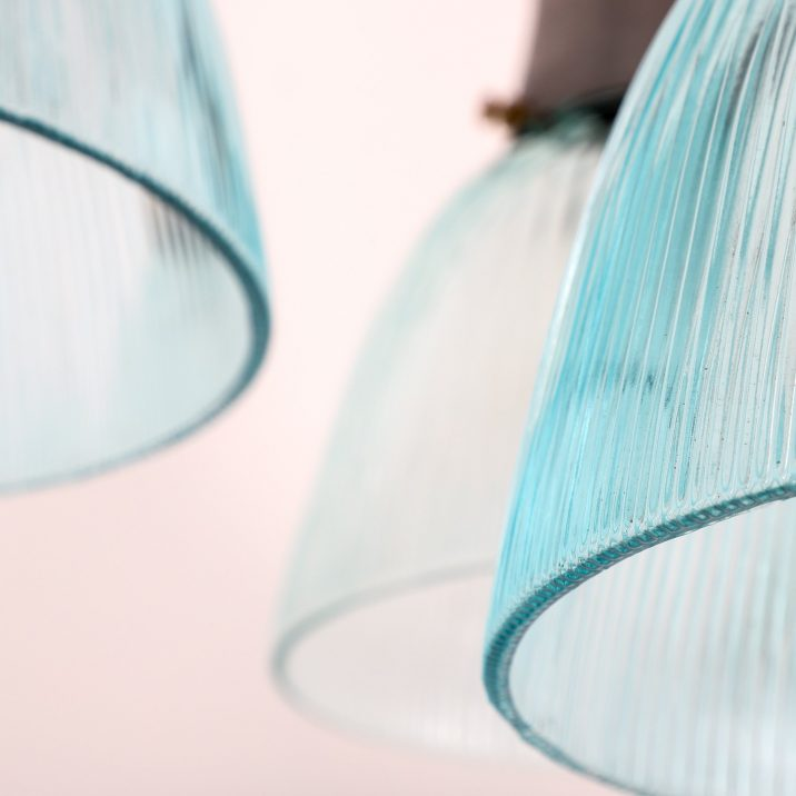 Rare Turquoise Holophane Pendant Light - Cooling & Cooling