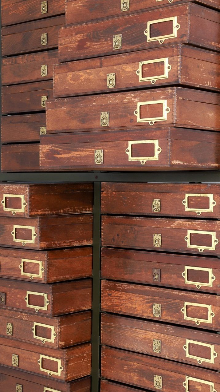 Vintage Industrial Bank Of Museum Drawers - Cooling & Cooling