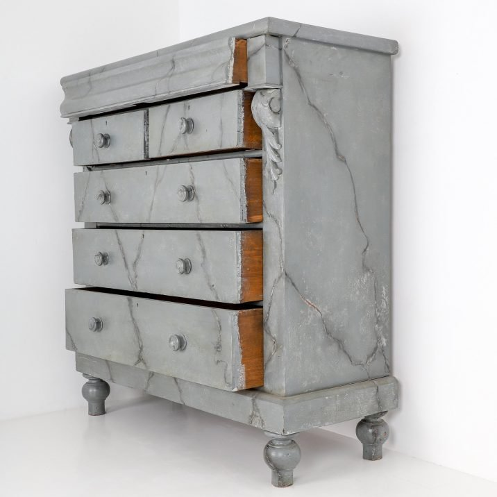 Large Tall Boy Faux Marble Chest Of Drawers - Cooling & Cooling
