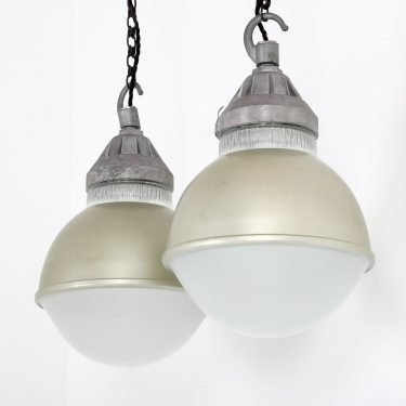 Antique French Domed Holophane Pendant Light