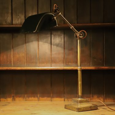 LARGE ANTIQUE BRASS DUGDILLS BANKERS LAMP