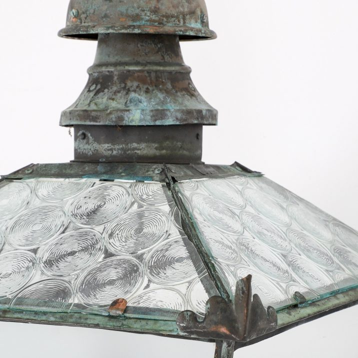 LARGE ANTIQUE COPPER LANTERN BY FOSTER PULLEN 11