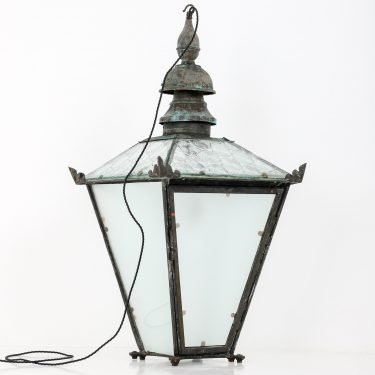 LARGE ANTIQUE COPPER LANTERN BY FOSTER PULLEN 13