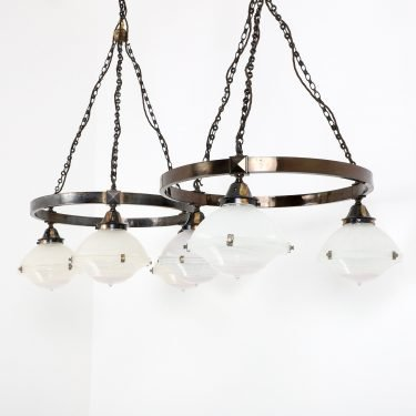LARGE ANTIQUE HOLOPHANE CHURCH CHANDELIER 3