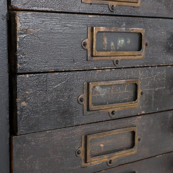 TALL ANTIQUE HABERDASHERY BANK OF DRAWERS 2