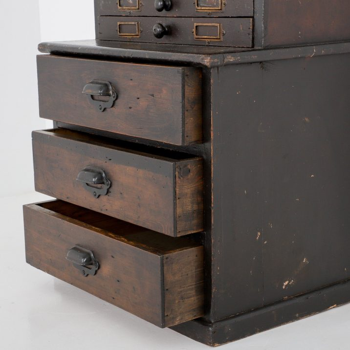 TALL ANTIQUE HABERDASHERY BANK OF DRAWERS 4