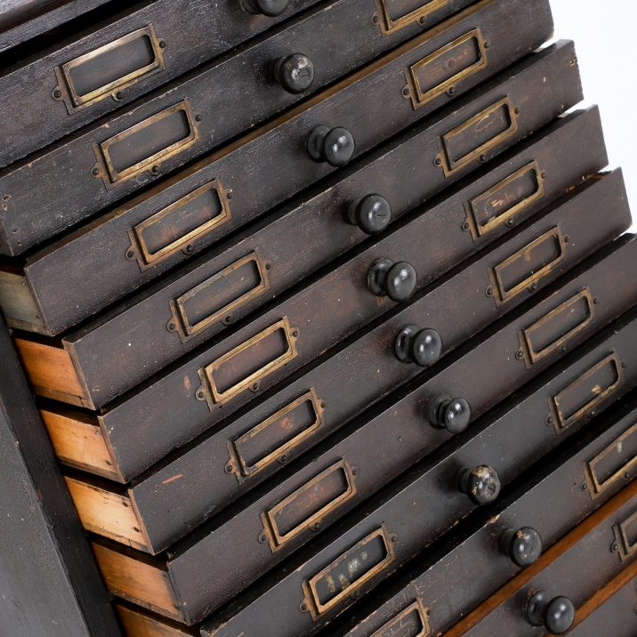 TALL ANTIQUE HABERDASHERY BANK OF DRAWERS 6