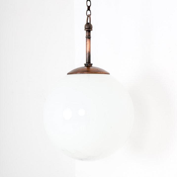 large antique opaline globe pendant light
