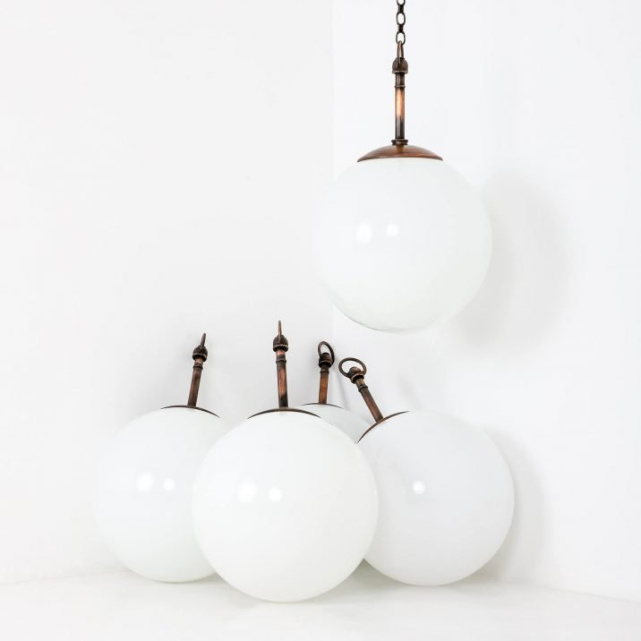 Large Antique Opaline Globe Pendant Lights - Cooling & Cooling
