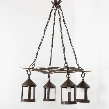 Large Blacksmith Made Arts & Crafts Chandelier - Cooling & Cooling