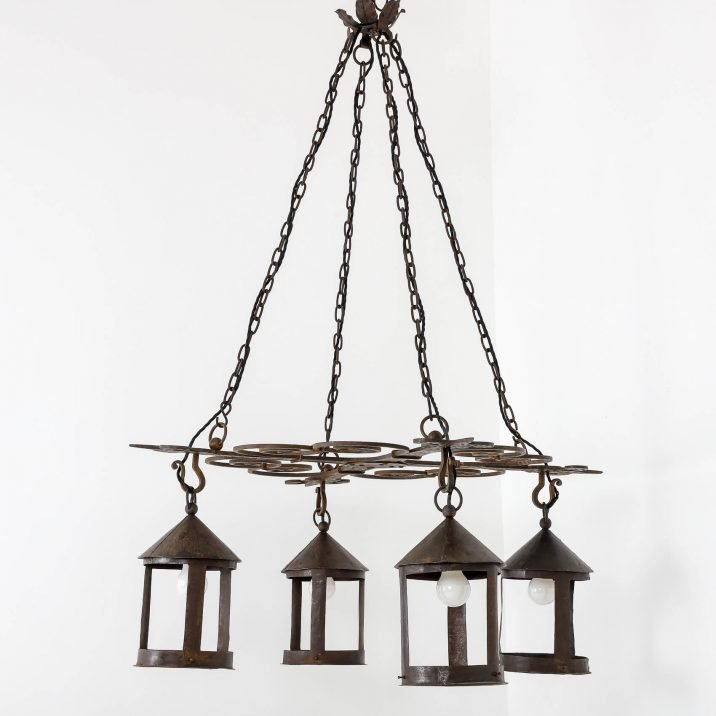 LARGE BLACKSMITH MADE ARTS CRAFTS CHANDELIER 10