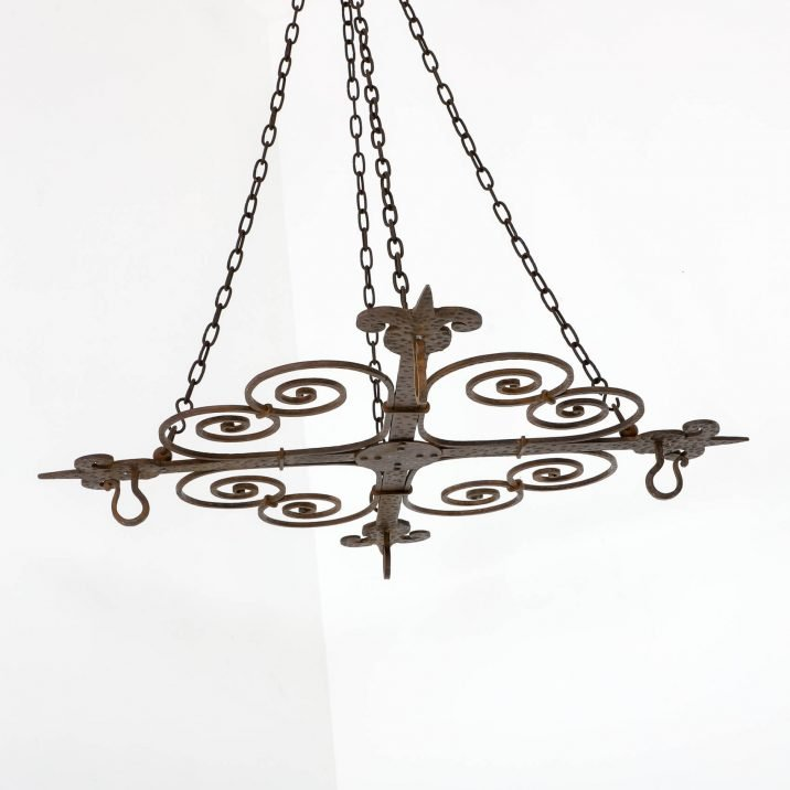 LARGE BLACKSMITH MADE ARTS CRAFTS CHANDELIER 12