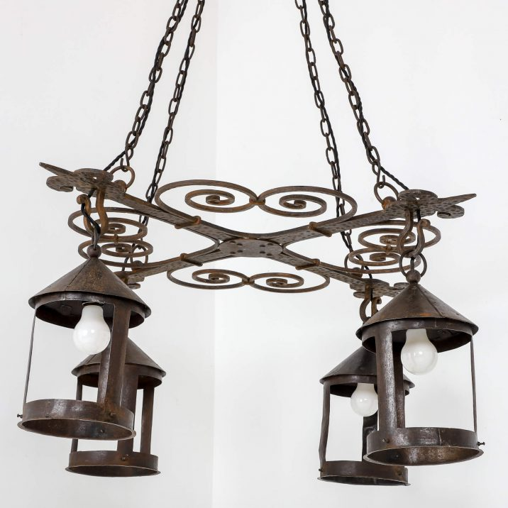 LARGE BLACKSMITH MADE ARTS CRAFTS CHANDELIER 9