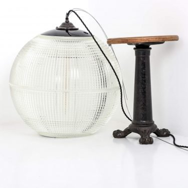 French Holophane globe pendant light