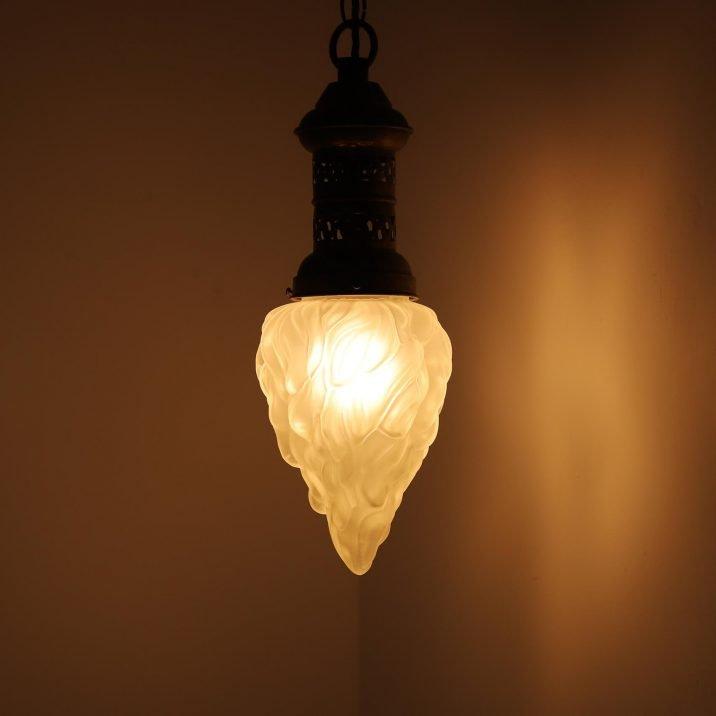 Large Antique Flambeau Pendant Light