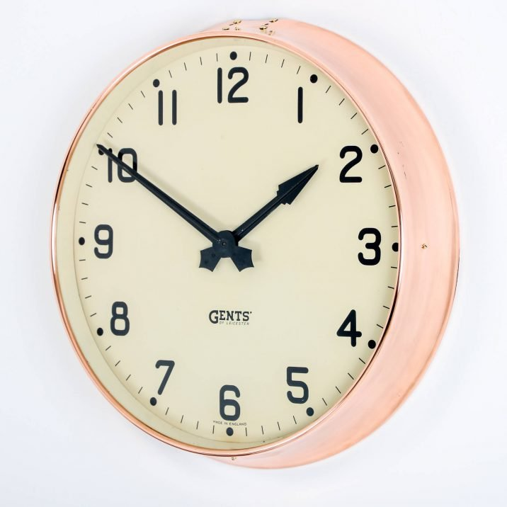 LARGE COPPER GENTS WALL CLOCK 6 Cooling & Cooling
